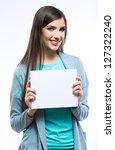 teenager girl hold white blank... | Shutterstock . vector #127322240