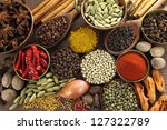 spices and herbs in metal ... | Shutterstock . vector #127322789
