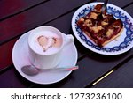 fruit plum and apple crumble or ... | Shutterstock . vector #1273236100