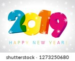 2019 happy new year numbers 3d... | Shutterstock .eps vector #1273250680