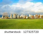 green park with skyscrapers on... | Shutterstock . vector #127325720