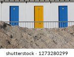 beach changing rooms in winter... | Shutterstock . vector #1273280299
