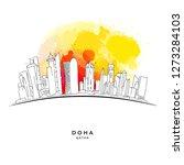 doha qatar skyline on colorful... | Shutterstock .eps vector #1273284103