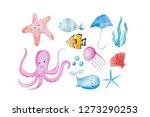 funny hand drawn watercolor... | Shutterstock . vector #1273290253