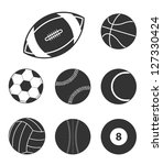 sports balls icons icons | Shutterstock .eps vector #127330424