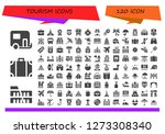 tourism icon set. 120 filled...   Shutterstock .eps vector #1273308340