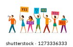 crowd of people with banner and ... | Shutterstock .eps vector #1273336333