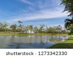 lake and trees in public park...   Shutterstock . vector #1273342330