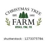 vintage sign for christmas tree ... | Shutterstock .eps vector #1273375786