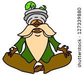 cartoon hand drawn meditation... | Shutterstock .eps vector #127339880