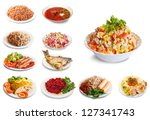 set of many plates with food... | Shutterstock . vector #127341743