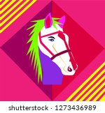 horse head neon vivid colors... | Shutterstock .eps vector #1273436989