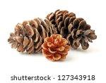 Pine Cones Isolated On White...