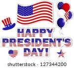 president's day stickers with a ... | Shutterstock . vector #127344200