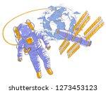 astronaut flying in open space... | Shutterstock .eps vector #1273453123