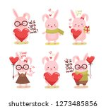 cute cartoon lovely rabbit with ...   Shutterstock .eps vector #1273485856