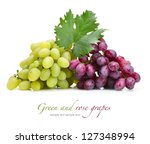 fresh rose and green grapes... | Shutterstock . vector #127348994