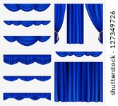 set of blue curtains to theater ... | Shutterstock .eps vector #127349726