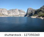 Hetch Hetchy Dam In Yosemite National Park (serving San Francisco drinking water) - stock photo