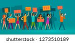 crowd of people with banners... | Shutterstock .eps vector #1273510189