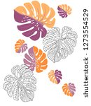 vector tropical pattern with... | Shutterstock .eps vector #1273554529