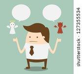 shoulder devil and angel | Shutterstock .eps vector #127355534