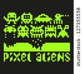 set of pixel art aliens icons ... | Shutterstock . vector #127355558