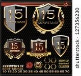 anniversary golden shields | Shutterstock .eps vector #127356230