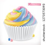 cupcake  fairy cake. 3d... | Shutterstock .eps vector #1273573093