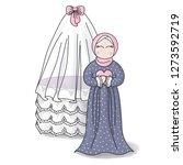 muslim kid happy birthday.... | Shutterstock .eps vector #1273592719