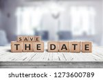 Save the date memo sign on a...
