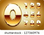 3d joyful set of gold metal... | Shutterstock .eps vector #127360976