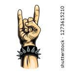 vintage colorful rock gesture...   Shutterstock . vector #1273615210
