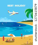 summer seaside landscape. blue... | Shutterstock .eps vector #1273615879