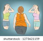girls look at a fat woman... | Shutterstock .eps vector #1273621159