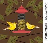 cute small bird on feeder...   Shutterstock . vector #1273624090