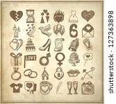 36 hand drawing doodle icon set ... | Shutterstock . vector #127363898
