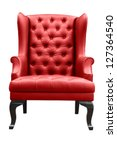 Red Leather Armchair Isolated...