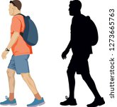 isolated walker with a backpack  | Shutterstock .eps vector #1273665763