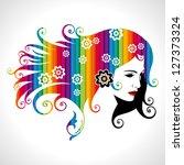 beautiful woman silhouette   Shutterstock .eps vector #127373324