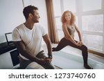 afro american couple. morning... | Shutterstock . vector #1273740760