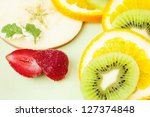 sliced orange  apple  kiwi...   Shutterstock . vector #127374848