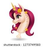 3d pony unicorn head with bone  ... | Shutterstock .eps vector #1273749583