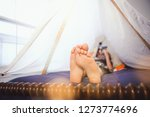 boy laying in a fort made of...   Shutterstock . vector #1273774696