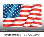 Waving American Us Flag Vector...