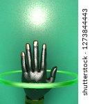 3d rendering of metalic hand ... | Shutterstock . vector #1273844443