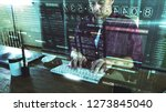 Small photo of A programer hacker trying to breached the computer security by using algorithm source code to exploit weakness in password security
