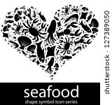 seafood icon symbols composed... | Shutterstock . vector #127389050