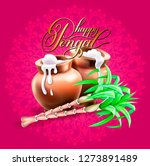 happy pongal 2019 greeting card ... | Shutterstock . vector #1273891489