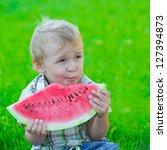 kid with slice of watermelon ... | Shutterstock . vector #127394873